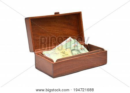 Image of wooden casket on white back ground