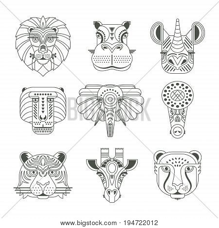 Animal portraits made in unique geometrical flat style. Vector heads of cute animals. Isolated icons for your design.
