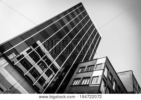 STUTTGART GERMANY - MARCH 18 2016: Modern building on a historic street Calwer Strasse in the city center. Stuttgart is the capital and largest city of the state of Baden-Wuerttemberg.
