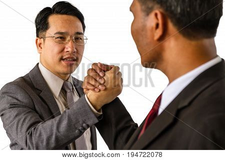 Arm wrestling of business people isolated on white background.