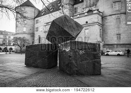 STUTTGART GERMANY - MARCH 18 2016: Memorial for the Victims of National Socialism on the background of the Old Castle. Black and white.