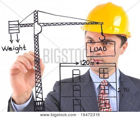 White background studio image of an architect drawing a crane and house  on glass