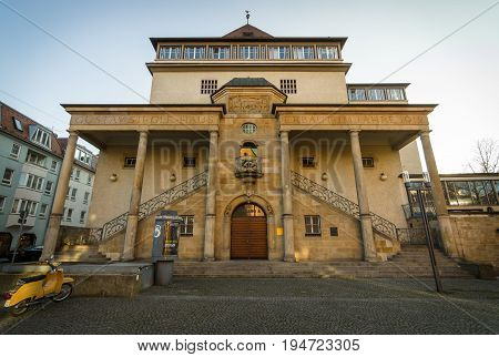 STUTTGART GERMANY - MARCH 18 2016: Gustav-Siegle-Haus is a music venue. The building was completed in 1912 by architect Theodor Fischer.