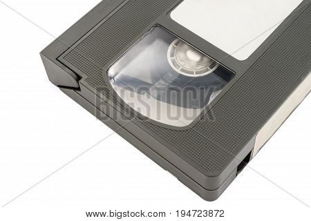 Close up of old video cassette tape on white background.