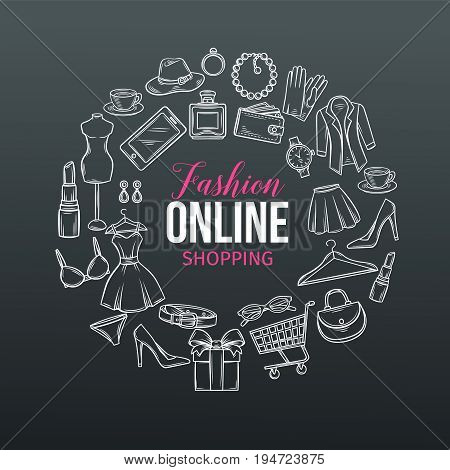 Vector hand drawn set of online fashion shopping icons, symbols and badges. White on black design template. Poster round composition for e-commerce.