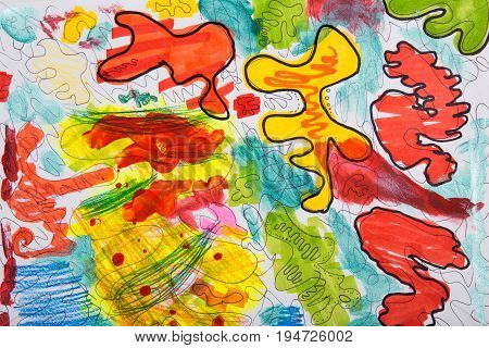 Painted chaotic abstract drawing. Children's sketch. Texture of stains for the background.