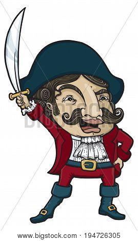 Fancy pirate dressed in authentic pirate clothes holding up a sword. Vector illustration.