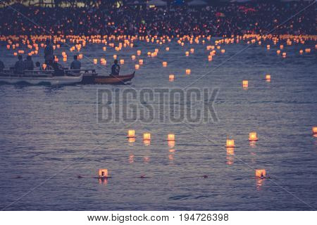 Honolulu Hawaii USA - May 30 2016: Memorial Day Lantern Floating Festival held at Ala Moana Beach to honor deceased loved ones.
