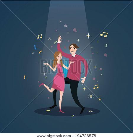 couple dance together celebration under spot light male female happy romance fun vector