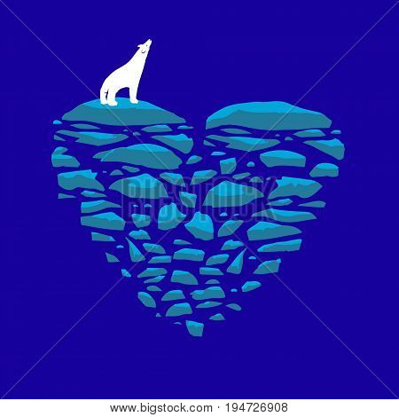 Polar bear on an ice floe. Heart of ice vector illustration on the theme of love loneliness or the environment and global warming.