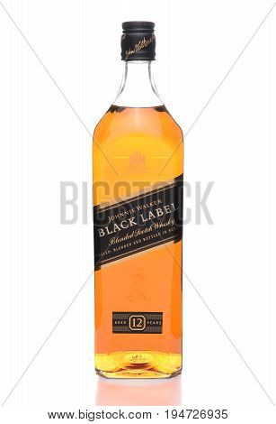 IRVINE CALIFORNIA - JULY 10 2017: Johnnie Walker Black Label. A 70 proof blend of about 40 whiskies each aged at least 12 years.