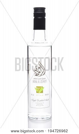 IRVINE CALIFORNIA - JULY 10 2017: a Bottle of Arak Al-Zumot. Arak (Arabic) is a levantine alcoholic spirit a clear colorless unsweetened anise-flavored distilled alcoholic drink.