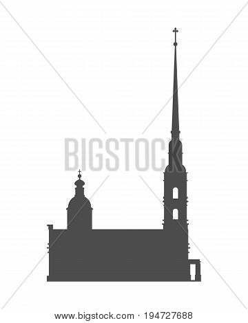 Peter and Paul fortress in Saint Petersburg, Russia. Simple silhouette