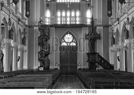 CHANTABURI, THAILAND - 1 july 2017 : Old catholic church of Maephra Patisonti Niramon, inside iconic of Chantaburi built French Style, building of Cathedral of the Immaculate Conception at Chanthaburi