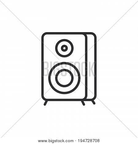 Sound speaker line icon outline vector sign linear style pictogram isolated on white. Loudspeaker symbol logo illustration. Editable stroke
