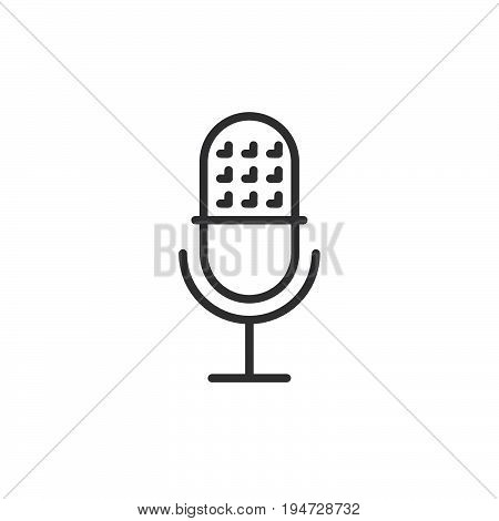 Retro microphone line icon outline vector sign linear style pictogram isolated on white. Sound recorder symbol logo illustration. Editable stroke