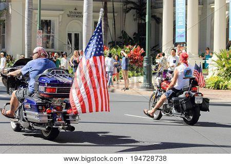 Honolulu Hawaii USA - May 30 2016: Waikiki Memorial Day Parade - Bikers Line Up in the Memorial Day Parade