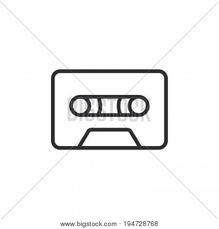 Audio cassette tape line icon outline vector sign linear style pictogram isolated on white. Symbol logo illustration. Editable stroke