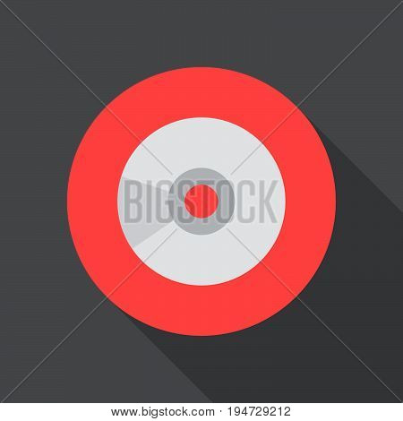 Digital audio compact disk flat icon. Round colorful button CD circular vector sign logo illustration. Flat style design