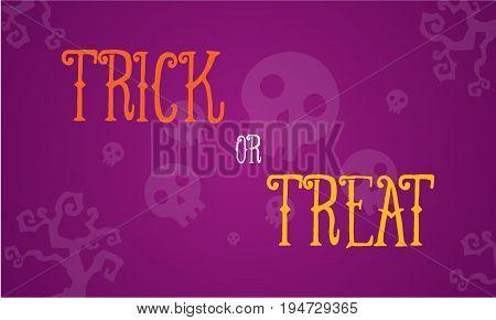 Halloween trick or treat card vector illustration