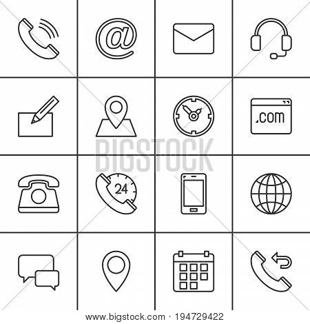 Contact line icons set outline vector symbol collection linear pictogram pack. Signs logo illustration. Set includes icons as map globe phone call clock handset message email call back
