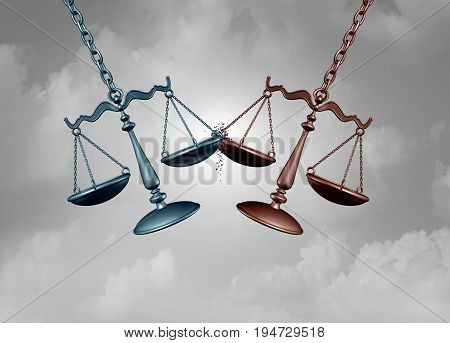 Legal battle lawsuit concept as two justice scales hitting each other as a justice court fight symbol representing a lawyer or attorney representation services with 3D illustration elements.