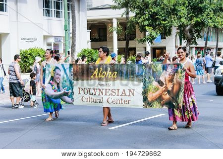 Honolulu, Hawaii - May 30, 2016: Waikiki Memorial Day Parade - Polynesian Cultural Center Performers