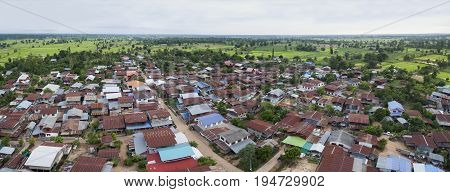 aerial view of thai domestic home in mahasarakham province north eastern of thailand