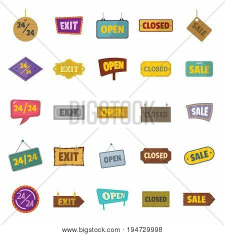 Vector set sign and signboards, vintage billboard in cartoon style