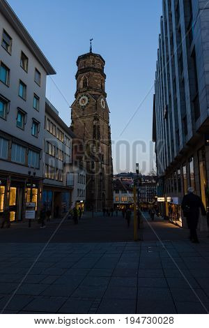 STUTTGART GERMANY- MARCH 16 2016: The Stiftskirche (Collegiate Church) is an inner-city church in Stuttgart the capital of Baden-Wuerttemberg.