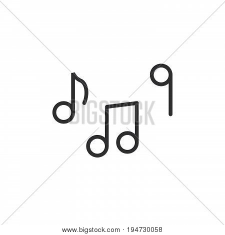 Music notes line icon outline vector sign linear style pictogram isolated on white. Tune symbol logo illustration. Editable stroke