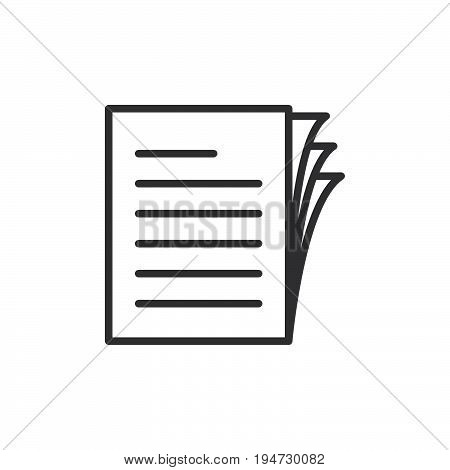 Document papers pile line icon outline vector sign linear style pictogram isolated on white. Symbol logo illustration. Editable stroke