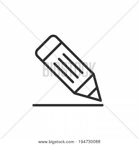 Pencil line icon outline vector sign linear style pictogram isolated on white. Write symbol logo illustration. Editable stroke