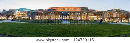 STUTTGART GERMANY- MARCH 16 2016: Panoramic view of Koenigsbau-Passagen (from 1991 to 2002 the Stuttgart Stock Exchange) and Schlossplatz.