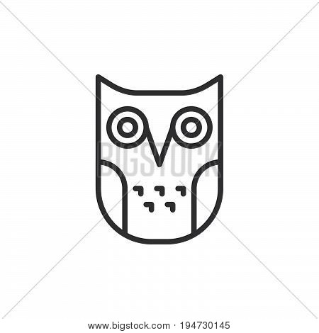 Education owl line icon outline vector sign linear style pictogram isolated on white. Wisdom symbol logo illustration. Editable stroke