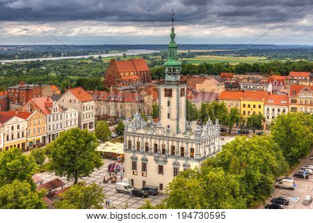 Old town in Chelmno with historical Town Hall, Poland