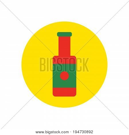 ketchup bottle flat icon. Round colorful button Sauce circular vector sign logo illustration. Flat style design