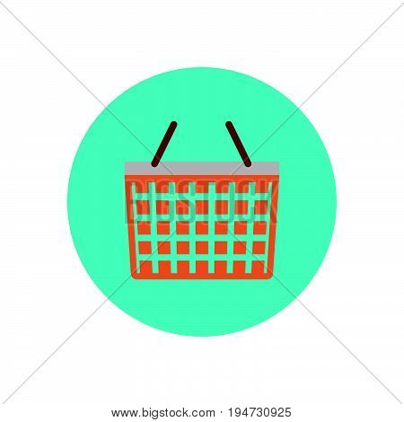 Shopping basket flat icon. Round colorful button circular vector sign logo illustration. Flat style design
