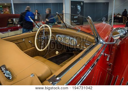 STUTTGART GERMANY- MARCH 17 2016: Cabin of a luxury car Mercedes-Benz Typ 290 Roadster (W18) 1935. Europe's greatest classic car exhibition