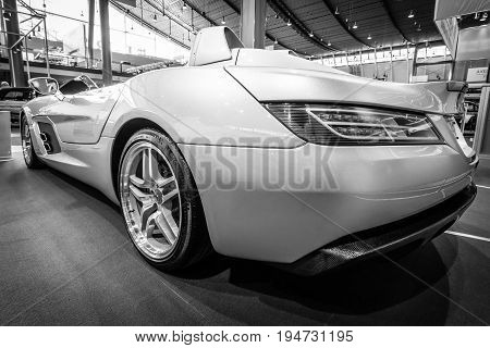 STUTTGART GERMANY- MARCH 17 2016: Grand tourer car Mercedes-Benz SLR Stirling Moss (limited edition 75 vehicles) 2009. Rear view. Black and white. Europe's greatest classic car exhibition