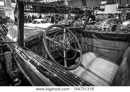 STUTTGART GERMANY - MARCH 17 2016: Cabin of full-size luxury car Mercedes-Benz 770K Cabriolet D (W07) 1931. Black and white. Europe's greatest classic car exhibition