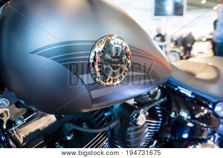 STUTTGART GERMANY - MARCH 17 2016: Fragment of a motorcycle Harley-Davidson FSXB Softail Breakout