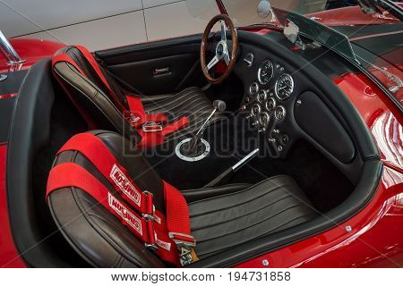 STUTTGART GERMANY - MARCH 17 2016: Cabin of a sports car Phoenix-Cobra by Classic Motors Design GmbH 1989. Europe's greatest classic car exhibition