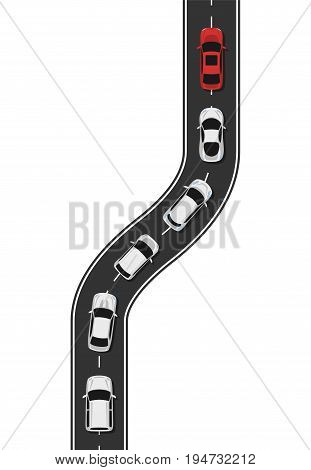 Leadership concept illustration with cars. Leading car and followers. Vector illustration.