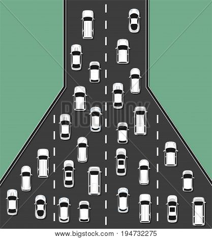 Traffic jam concept top view illustration. Traffic congestion on roads. Transportation problems concept. Vector illustration.