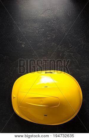 construction helmet on black background