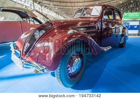 STUTTGART GERMANY - MARCH 17 2016: Large family car Peugeot 402 Legere E 1939. Europe's greatest classic car exhibition