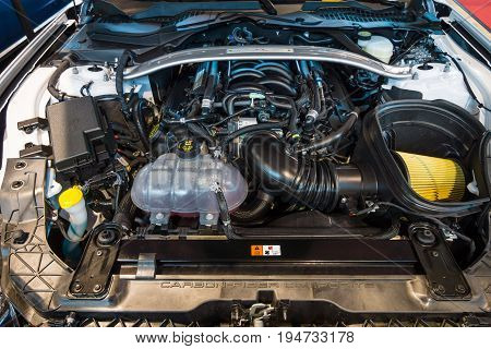 STUTTGART GERMANY - MARCH 17 2016: Engine of Ford Mustang Shelby GT 350 2015. Europe's greatest classic car exhibition