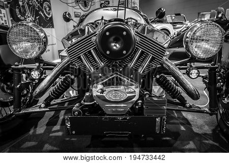 STUTTGART GERMANY - MARCH 17 2016: Engine S&S of three-wheeler car Morgan M3W SUPERDRY 2013. Close-up. Black and white. Europe's greatest classic car exhibition