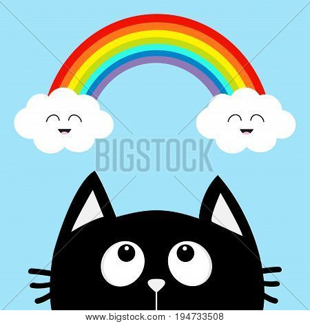 Black cat looking up to cloud and rainbow with smiling face. Cute cartoon character. Valentines Day. Kawaii animal. Love Greeting card. Flat design. Blue background. Isolated. Vector illustration